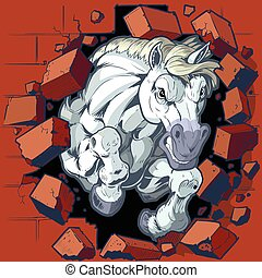 mur, cheval, mascotte, par, briser