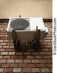 mur, climatiseur, brique, air
