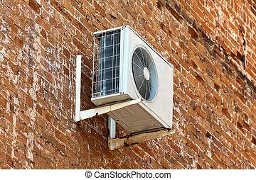 mur, climatiseur, brique, vieux, air
