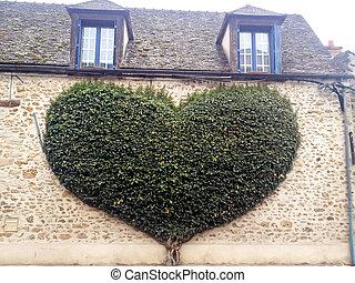 mur, coeur, arbre, formé