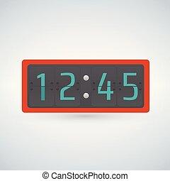 mur, compteur, horloge, nombre, chiquenaude, gabarit, table, ou