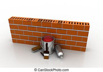 mur, concept, rénovation