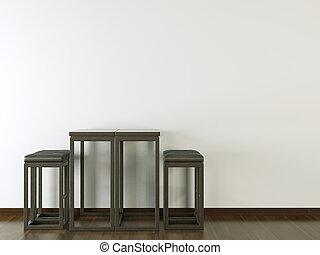 mur, conception, intérieur, noir, blanc, meubles