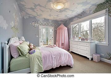 mur, conceptions, chambre à coucher