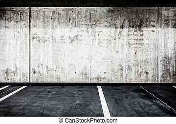 mur concret, texture, garage, intérieur, fond, souterrain