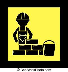 mur, constructeur, brique, icône