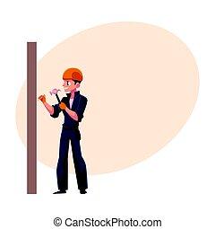 mur, constructeur, ouvrier, salopette, clous, casque, marteler