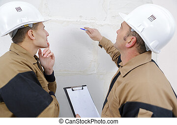 mur, conversation, sur, ouvriers construction