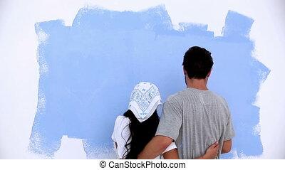 mur, couple, agréable, peinture