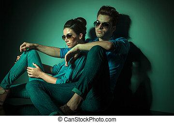mur, couple, mode, penchant