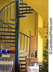 mur, courbé, escalier, jaune