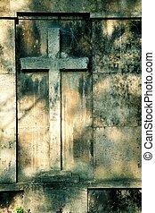 mur, croix, fond