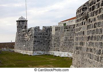 mur, cuba., vieux, havana., forteresse