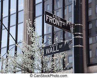 mur, devant, nyc, jonction, rue