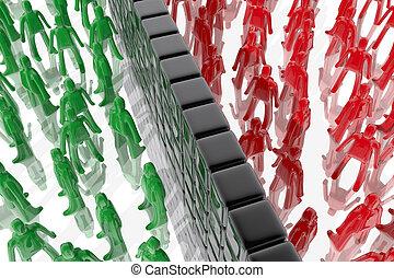mur, différent, entre, gens