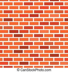 mur, différent, nuances, brique, rouges