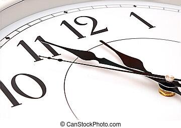mur, douze, cinq, minutes, horloge