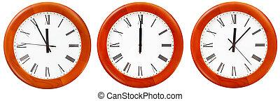 mur, douze, ensemble, o, horloge