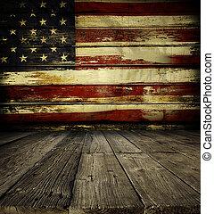 mur, drapeau américain