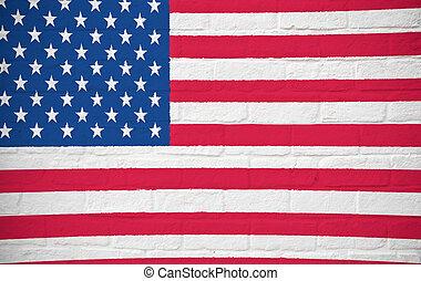 mur, drapeau, amérique, brique,  USA
