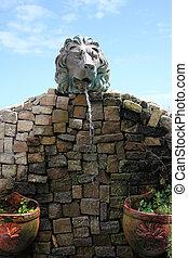mur, eau, pierre, fountain.