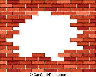 mur, ecrasé, brique
