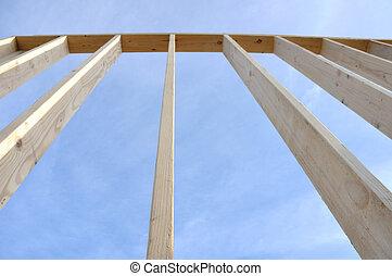 mur, emmagasiner construction, site, encadré