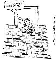 mur, employé, brique, inquiété