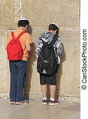 mur, enfants, gémir, prière