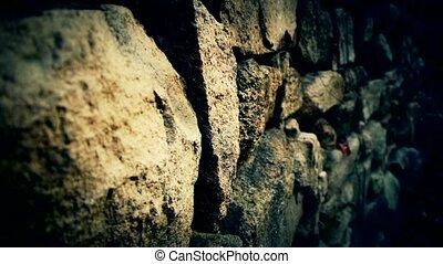 mur, enroulement, pierre, couloir