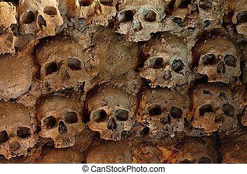mur, entiers, de, crânes