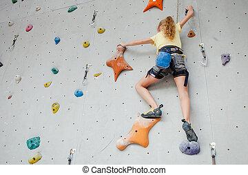 mur, escalade, adolescent, rocher
