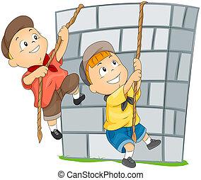 mur, escalade, enfants