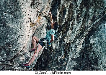 mur, escalade, femme, rocher
