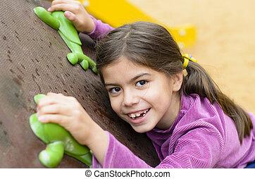 mur, escalade, petite fille