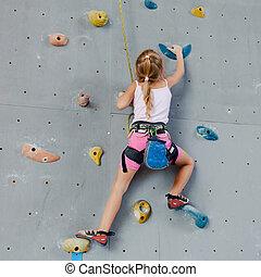 mur, escalade, petite fille, rocher