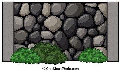 mur, fait, rochers