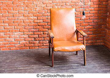mur, fauteuil, brique, fond
