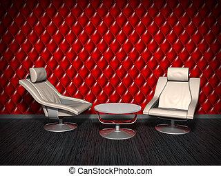 mur, fauteuils, rouges, arrière-plan.