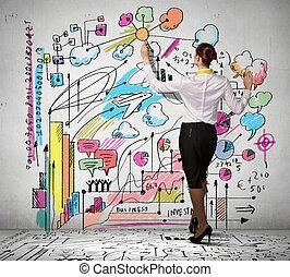 mur, femme affaires, dessin