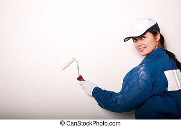 mur, femme, peinture