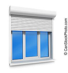 mur, fenêtre, blanc, isolé, plastique