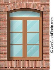 mur, fenêtre, brique, arqué