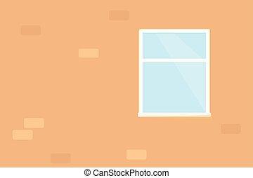 mur, fenêtre, brique