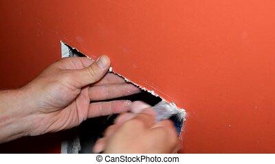mur, fenêtre, placoplâtre, inspection, installation