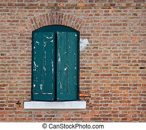 mur, fenêtre, vieux, brique