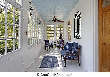 mur, fenetres, porche