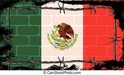 mur, fil fer barbelé, mexicain