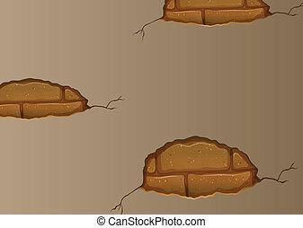 mur, fissures