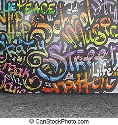 mur, fond, graffiti